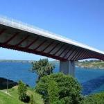 A bridge going over water